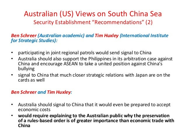 "Australian (US) Views on South China Sea Security Establishment ""Recommendations"" (2) Ben Schreer (Australian academic) an..."