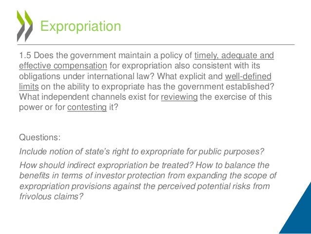 Legal analysis of indirect expropriation claim
