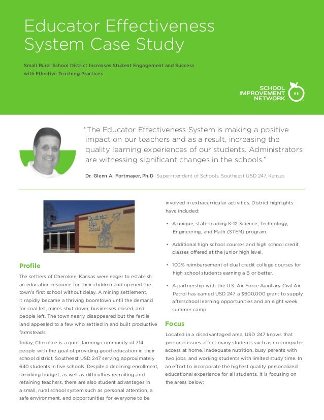 Educator Effectiveness System Case Study Small Rural School District Increases Student Engagement and Success with Effecti...