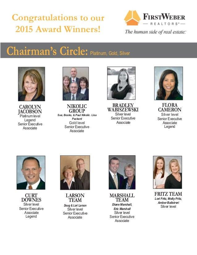 Congratulations to our 2015 Award Winners! Chairman's Circle: Platinum, Gold, Silver NIKOLIC GROUP Sue, Bosko, & Paul Niko...