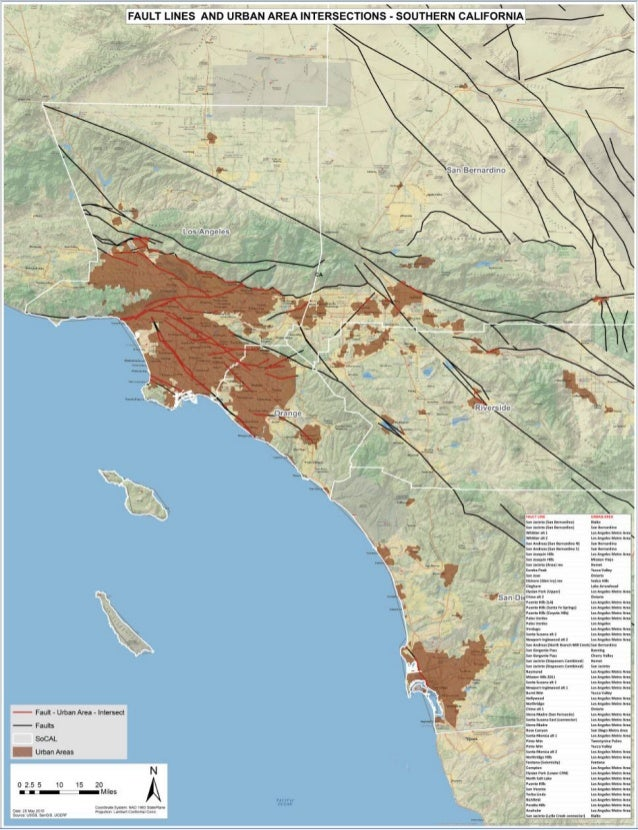 Southern California - Fault Lines and Urban Areas Intersect on