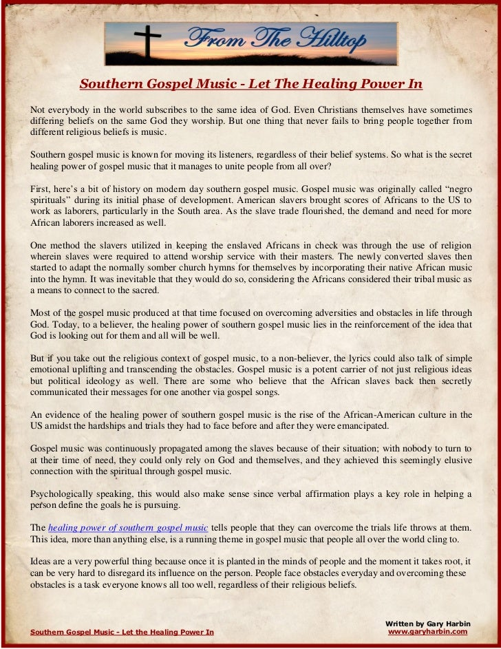 Southern Gospel Music - Let The Healing Power In