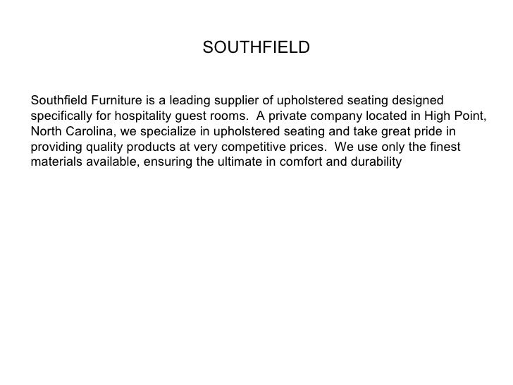 SOUTHFIELD Southfield Furniture Is A Leading Supplier Of Upholstered  Seating Designed Specifically For Hospitality Guest R ...
