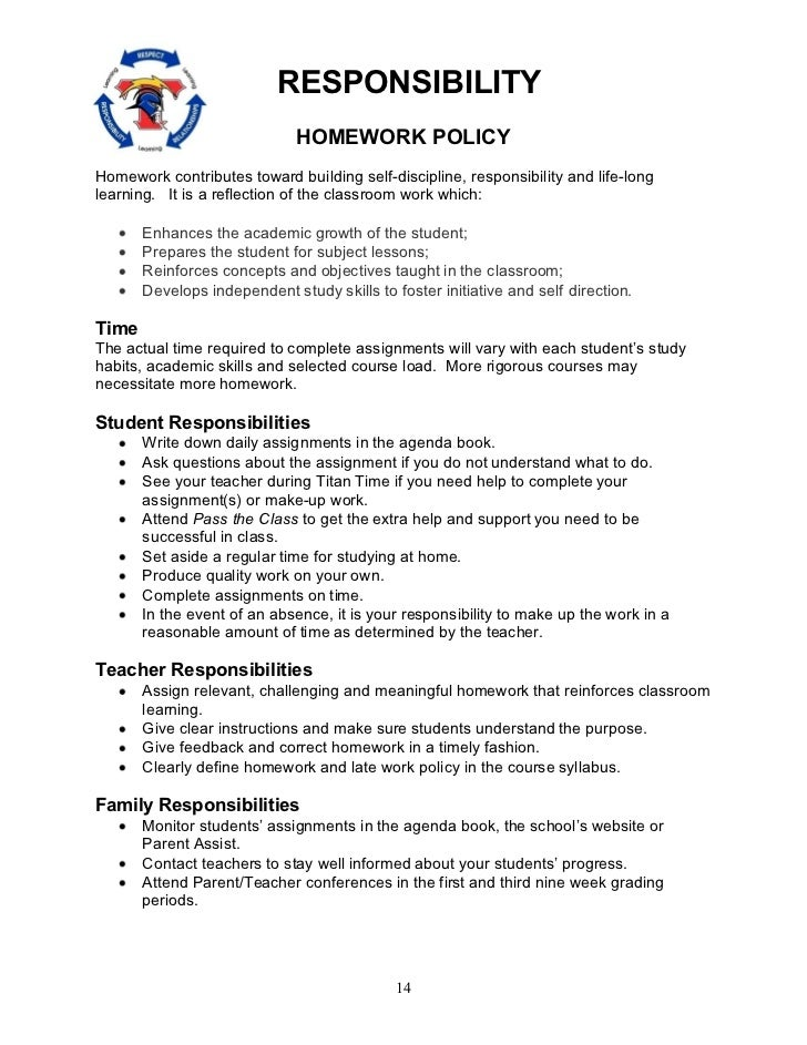 Secondary schools homework policy 4th