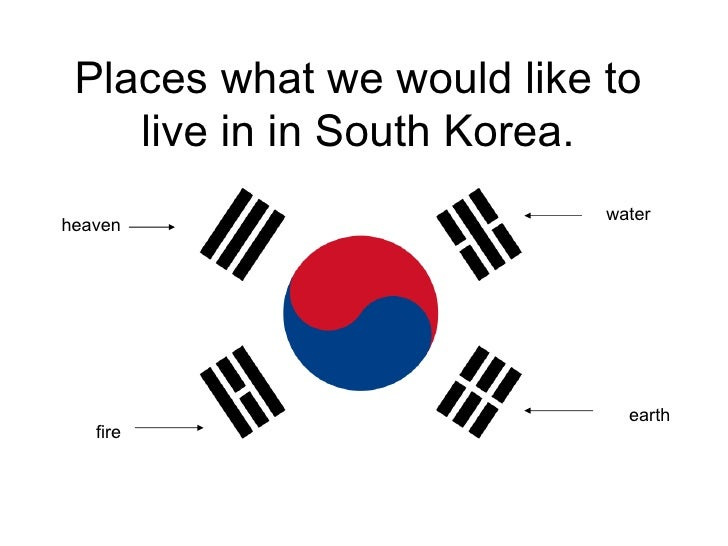 Places what we would like to live in in South Korea. heaven water fire earth