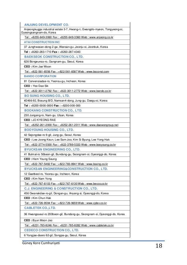 Güney Kore Cumhuriyeti 18 ANJUNG DEVELOPMENT CO. Anjeongkugga industrial estate 3-7, Hwang-ri, Gwangdo-myeon, Tongyeong-si...