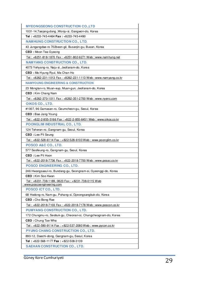 Güney Kore Cumhuriyeti 29 MYEONGSEONG CONSTRUCTION CO.,LTD 1031-14,Taejang-dong ,Wonju-si, Gangwon-do, Korea Tel : +8233-7...