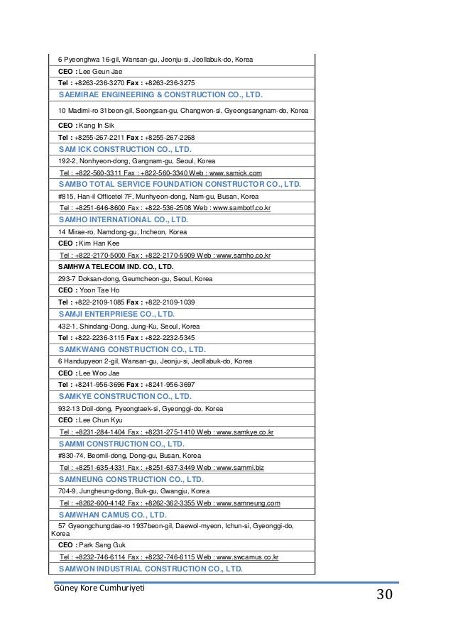 Güney Kore Cumhuriyeti 30 6 Pyeonghwa 16-gil, Wansan-gu, Jeonju-si, Jeollabuk-do, Korea CEO : Lee Geun Jae Tel : +8263-236...