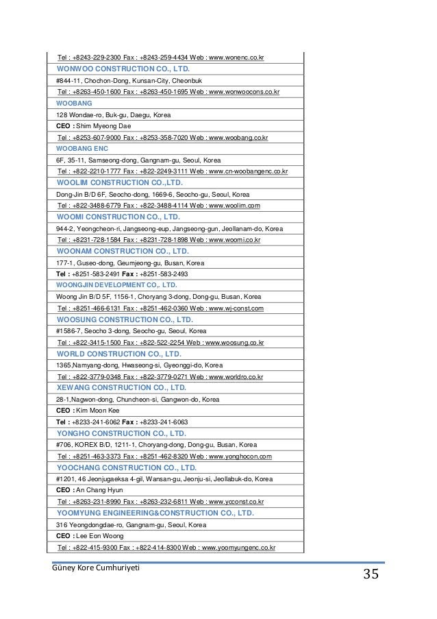 Güney Kore Cumhuriyeti 35 Tel : +8243-229-2300 Fax : +8243-259-4434 Web : www.wonenc.co.kr WONWOO CONSTRUCTION CO., LTD. #...