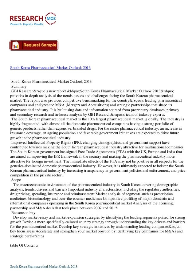 South Korea Pharmaceutical Market Outlook 2013South Korea Pharmaceutical Market Outlook 2013SummaryGBI Research's ne...