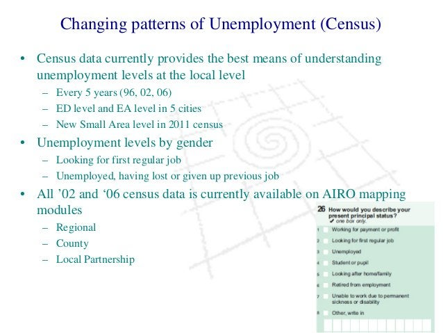 Changing patterns of Unemployment (Census) • Census data currently provides the best means of understanding unemployment l...