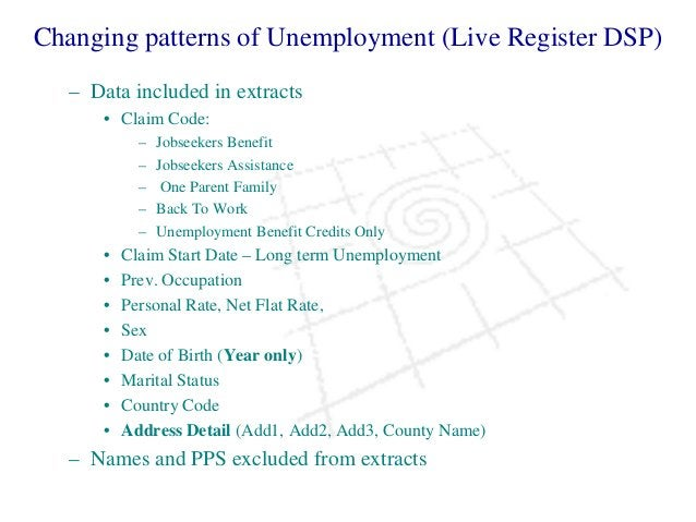 Changing patterns of Unemployment (Live Register DSP) – Data included in extracts • Claim Code: – Jobseekers Benefit – Job...