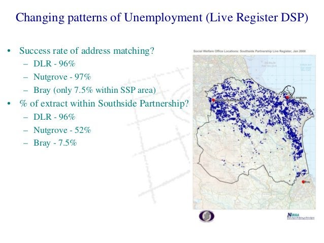 Changing patterns of Unemployment (Live Register DSP) • Success rate of address matching? – DLR - 96% – Nutgrove - 97% – B...
