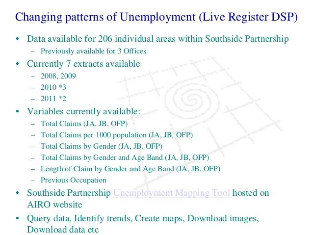 Changing patterns of Unemployment (Live Register DSP) • Data available for 206 individual areas within Southside Partnersh...