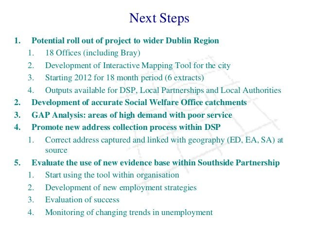 Next Steps 1. Potential roll out of project to wider Dublin Region 1. 18 Offices (including Bray) 2. Development of Intera...