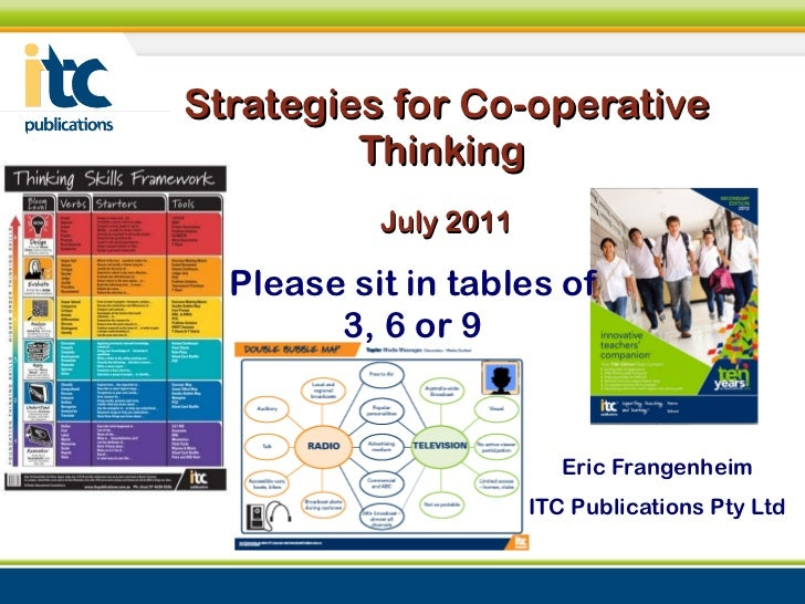 Strategies for Co-operative Thinking  July 2011 Eric Frangenheim ITC Publications Pty Ltd Please sit in tables of 3, 6 or 9