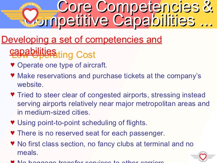 """southwest airlines core competencies According to a recent hbs case study, southwest airlines is the """"most  that is  committed to its core competencies - efficient operations to."""