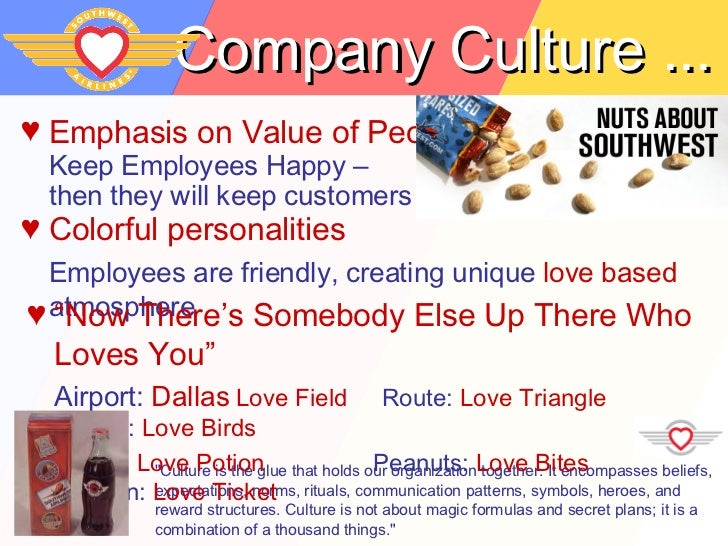 southwest airlines organizational culture essay Read this essay on southwest airlines paper come browse our large digital warehouse of free sample essays to allow one to grasp the concept of organizational culture of southwest airlines, including the organization's philosophy, mission, vision.
