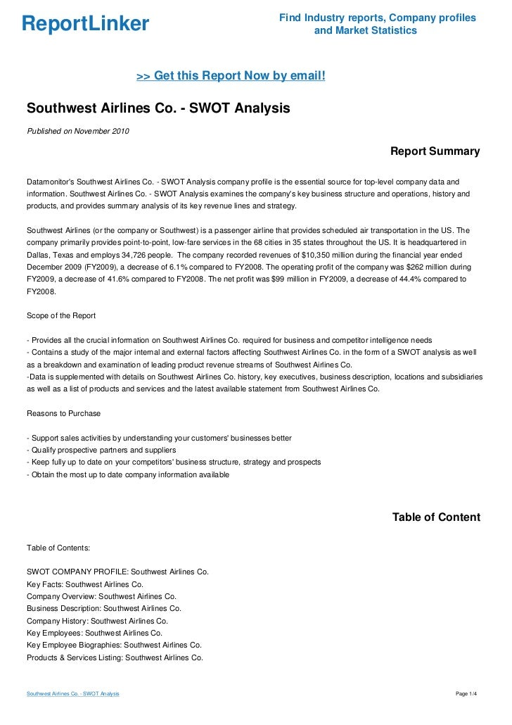 an analysis of the southwestern airlines company Strategic analysis: southwest airlines co shekera alvarado mba 700: strategic management southern new hampshire university 2 running head: strategic analysis 2 executive summary southwest airlines co is a major airline company based in the united states.