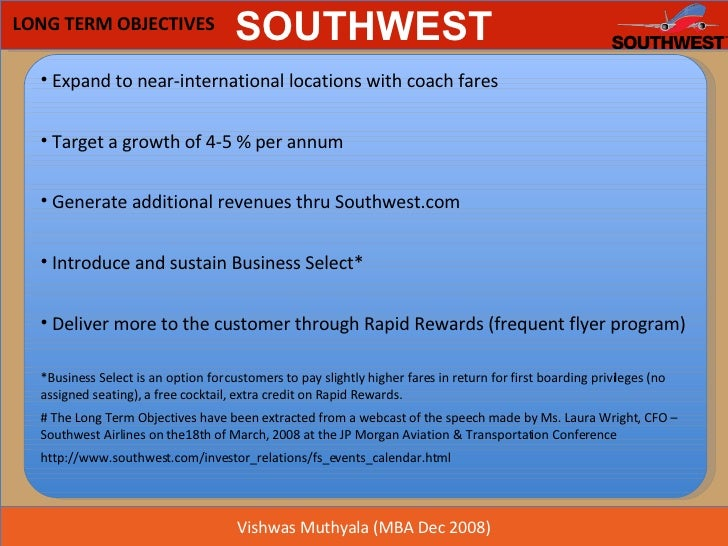 southwest airlines objectives