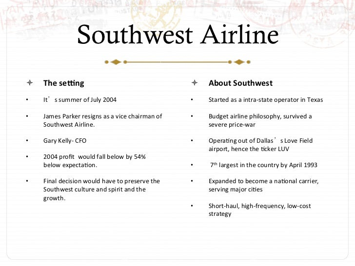 Southwest airlines case study essay