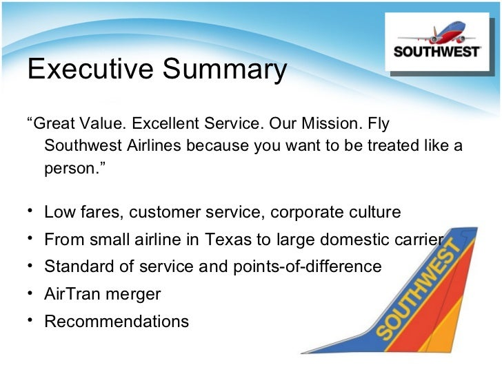 a summary of southwest airlines Please submit a brief description of the main competitors of southwest airlines give a brief description of each competitor and compare southwest airlines to the.