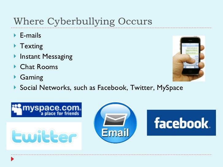 Where Cyberbullying Occurs <ul><li>E-mails </li></ul><ul><li>Texting </li></ul><ul><li>Instant Messaging </li></ul><ul><li...