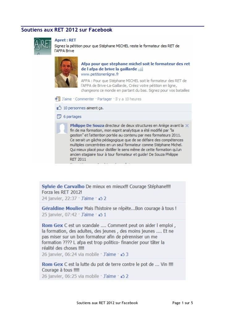 Soutiens aux RET 2012 sur Facebook                    Soutiens aux RET 2012 sur Facebook   Page 1 sur 5