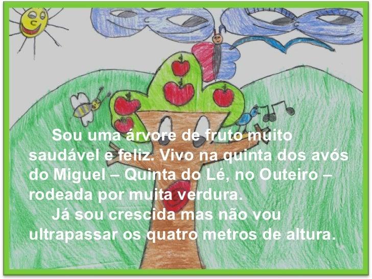 Sou uma árvore de fruto muito saudável e feliz. Vivo na quinta dos avós do Miguel – Quinta do Lé, no Outeiro – rodeada por...