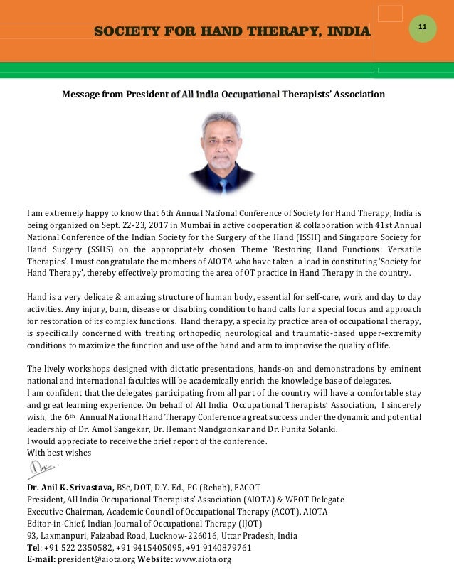 SOCIETY FOR HAND THERAPY, INDIA  11 MessagefromPresidentofAllIndiaOccupationalTherapists'Association  Iamext...