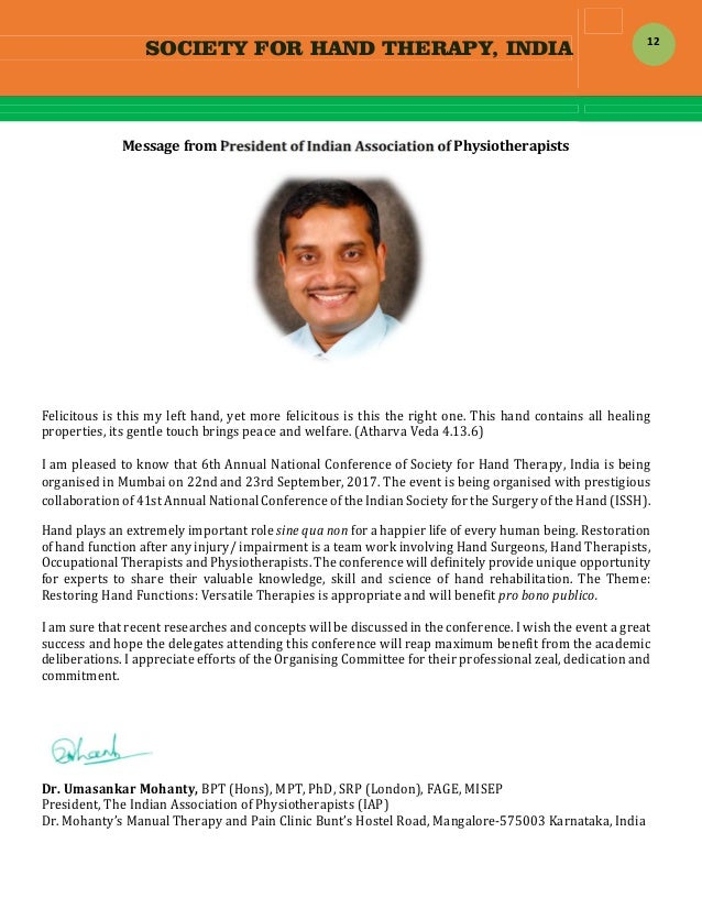 SOCIETY FOR HAND THERAPY, INDIA  12 MessagefromPresidentofIndianAssociationofPhysiotherapists          ...