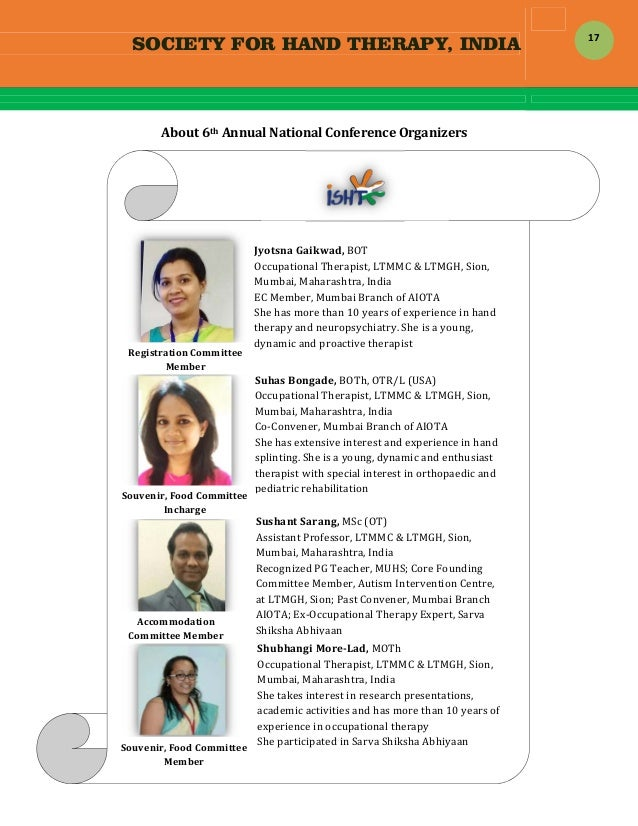 SOCIETY FOR HAND THERAPY, INDIA  17 About6thAnnualNationalConferenceOrganizers                  ...