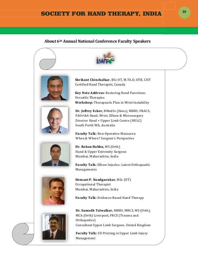 SOCIETY FOR HAND THERAPY, INDIA  20  About6thAnnualNationalConferenceFacultySpeakers        ...