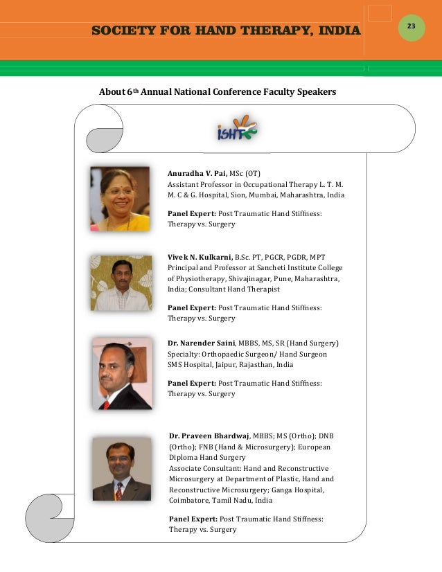 SOCIETY FOR HAND THERAPY, INDIA  23  About6thAnnualNationalConferenceFacultySpeakers     ...