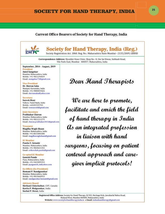SOCIETY FOR HAND THERAPY, INDIA  25 CurrentOfficeBearersofSocietyforHandTherapy,India             ...