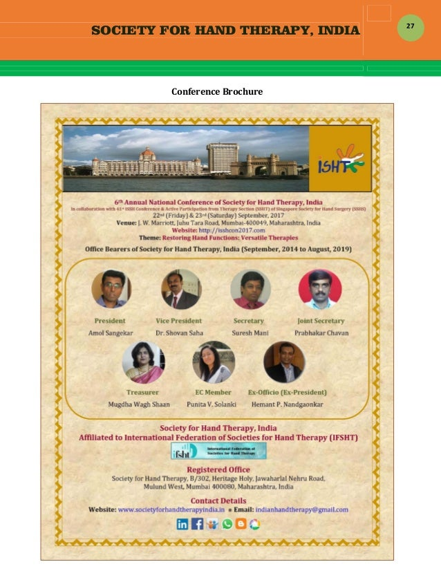 SOCIETY FOR HAND THERAPY, INDIA  27 ConferenceBrochure