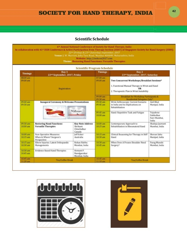 SOCIETY FOR HAND THERAPY, INDIA  42 ScientificSchedule                   ...