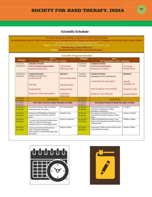 SOCIETY FOR HAND THERAPY, INDIA  43 ScientificSchedule                   ...