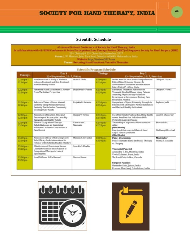 SOCIETY FOR HAND THERAPY, INDIA  44 ScientificSchedule                   ...