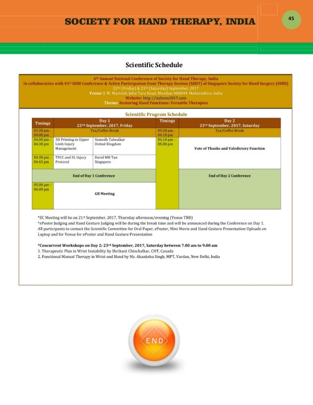 SOCIETY FOR HAND THERAPY, INDIA  45 ScientificSchedule    ScientificSchedule        ...