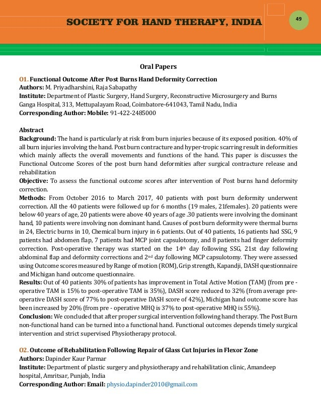SOCIETY FOR HAND THERAPY, INDIA  49 OralPapers O1.FunctionalOutcomeAfterPostBurnsHandDeformityCorrection Aut...