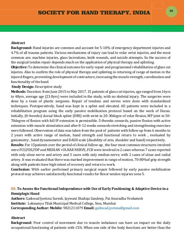 SOCIETY FOR HAND THERAPY, INDIA  50  Abstract Background:Handinjuriesarecommonandaccountfor5‐10%ofemergency...