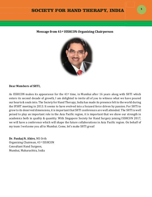 SOCIETY FOR HAND THERAPY, INDIA  5 Messagefrom41stISSHCONOrganizingChairperson   DearMembersofSHTI,  AsISS...