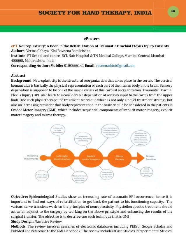 SOCIETY FOR HAND THERAPY, INDIA  68 ePosters eP1.Neuroplasticity:ABoonintheRehabilitationofTraumaticBrachialP...