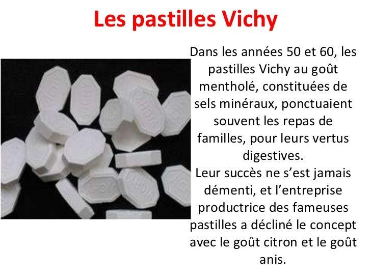 Les pastilles Vichy Dans les années 50 et 60, les pastilles Vichy au goût mentholé, constituées de sels minéraux, ponctuai...