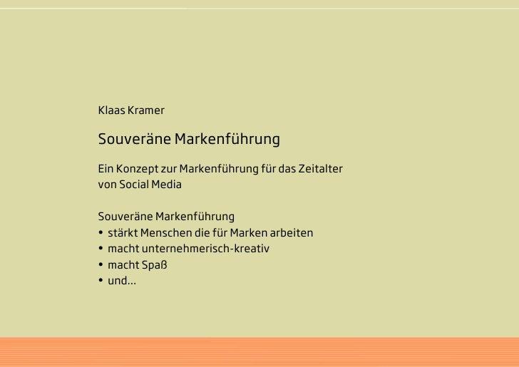 Klaas Kramer  Souveräne Markenführung Ein Konzept zur Markenführung für das Zeitalter von Social Media  Souveräne Markenfü...