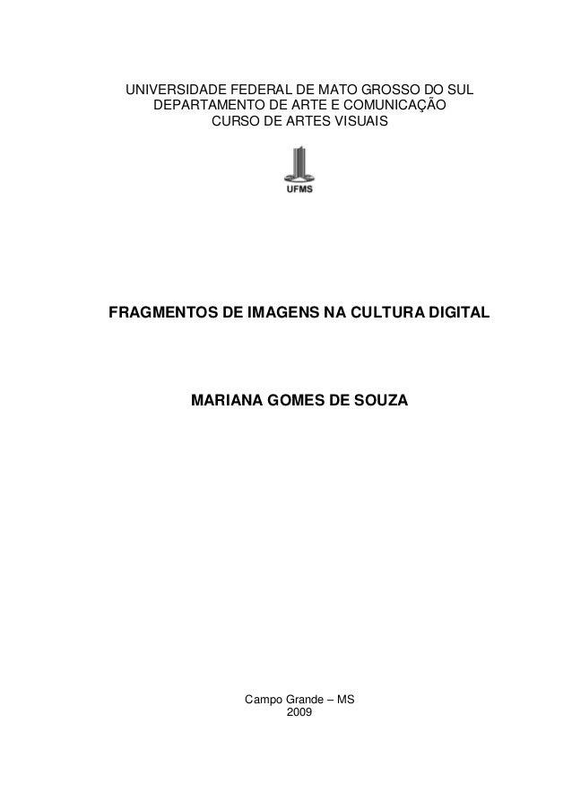 UNIVERSIDADE FEDERAL DE MATO GROSSO DO SUL DEPARTAMENTO DE ARTE E COMUNICAÇÃO CURSO DE ARTES VISUAIS FRAGMENTOS DE IMAGENS...