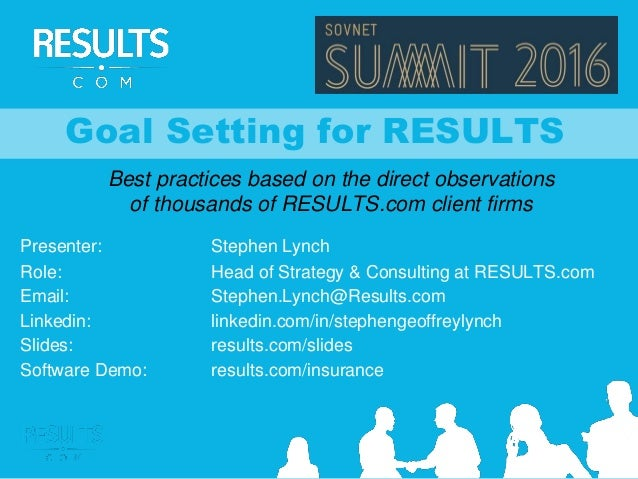 Goal Setting for RESULTS Best practices based on the direct observations of thousands of RESULTS.com client firms Presente...