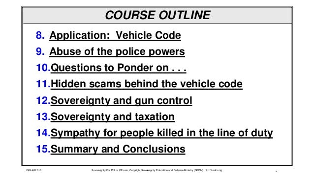 Sovereignty for Police Officers Course, Form #12 022