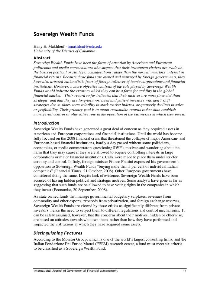 Sovereign Wealth Funds  Hany H. Makhlouf - hmakhlouf@udc.edu University of the District of Columbia Abstract Sovereign Wea...